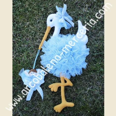 462 Cicogna nascita in tulle azzurra