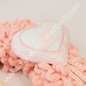 549 Ghirlanda nascita cicciottosa rosa con orsetta