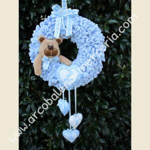 548 Ghirlanda nascita cicciottosa azzurra con orsetto