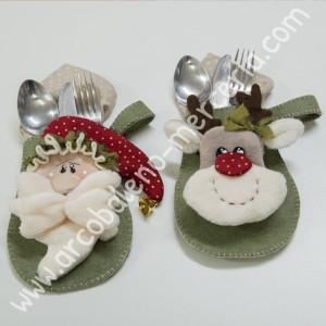 560 Porta posate con Babbo Natale e renna