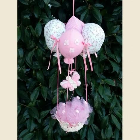 Mongolfiera nascita rosa