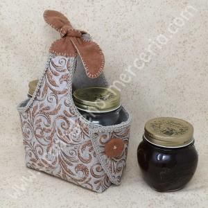 Cestino svuota tasche o porta marmellate in feltro ramage